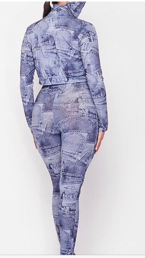 Denim Print Jumpsuit 3Pc Set