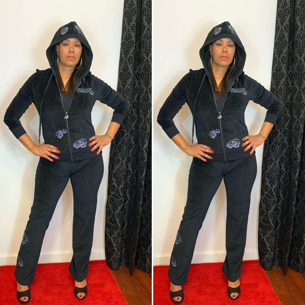 BCBG Velour Two Piece Jogging Suit