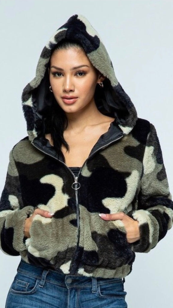 Camouflage furry jacket