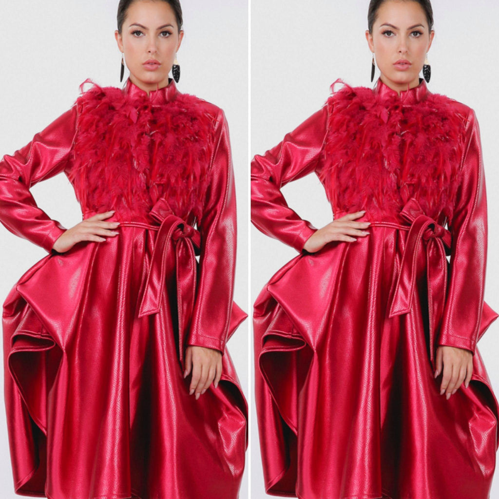 Feather Trim Coat Red