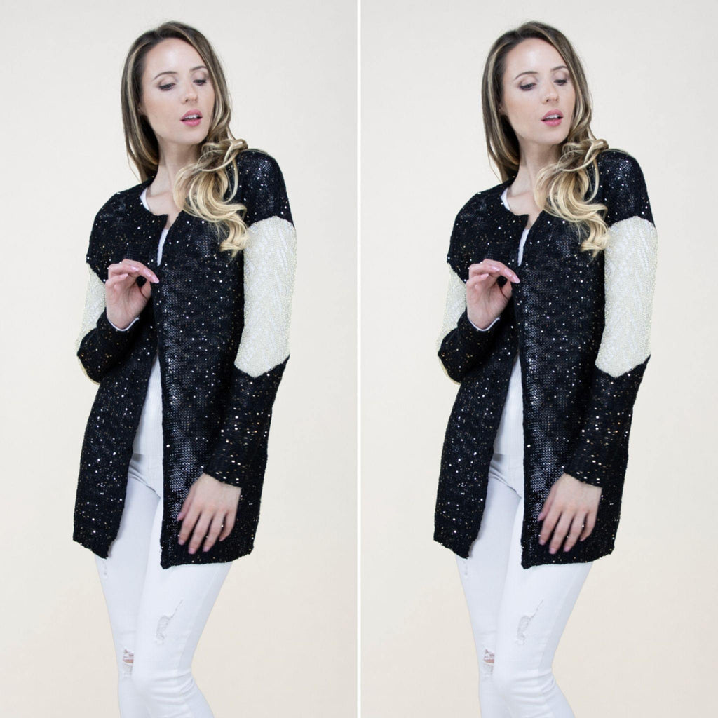 Black Cardigan with Gold Sequins