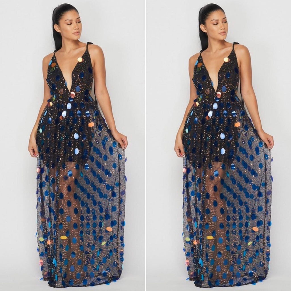 Iridescent Large Sequins Dress
