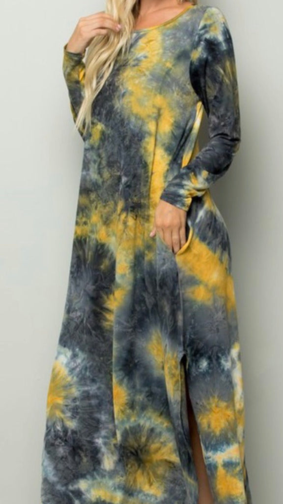 Tie-dye long sleeve dress