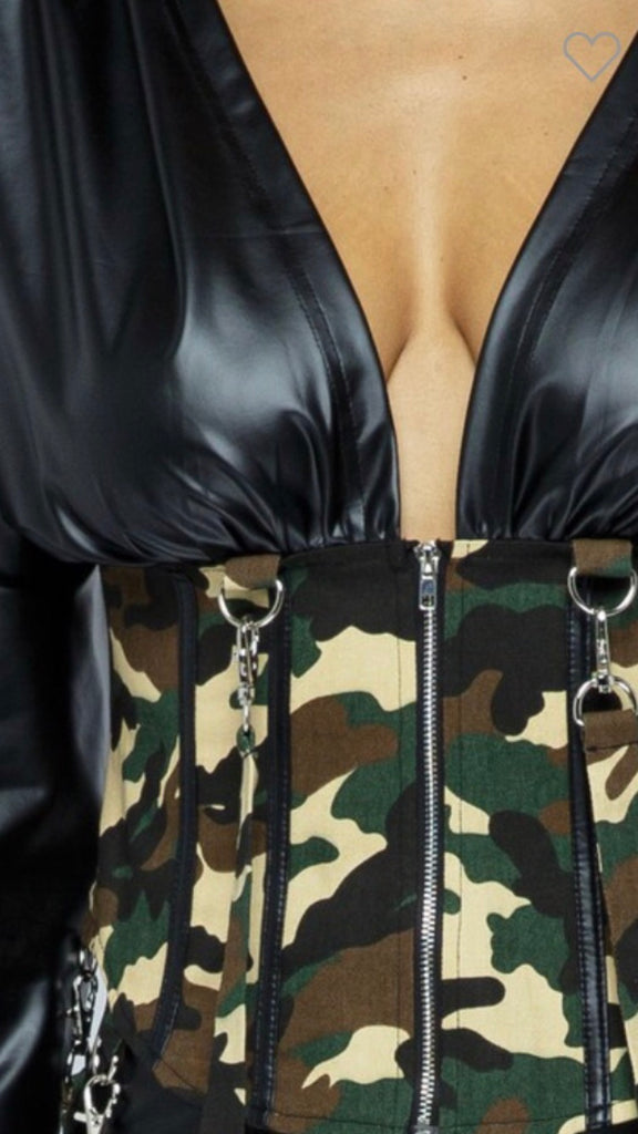 Black faux leather set trim camouflage