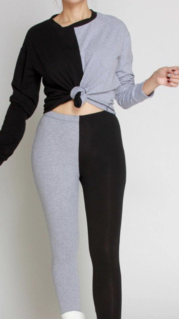 Black and gray leggings set