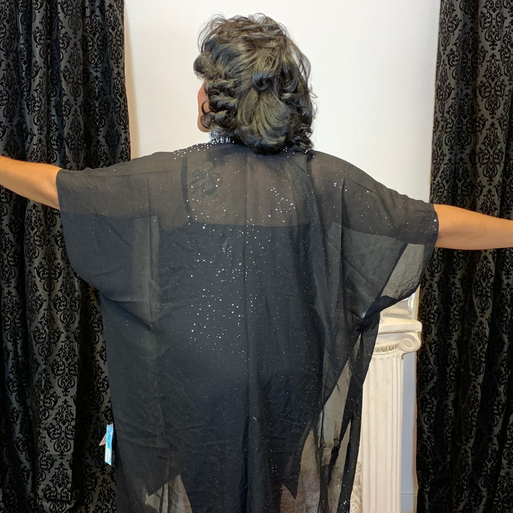 Black Cape With Rhinestone Trim