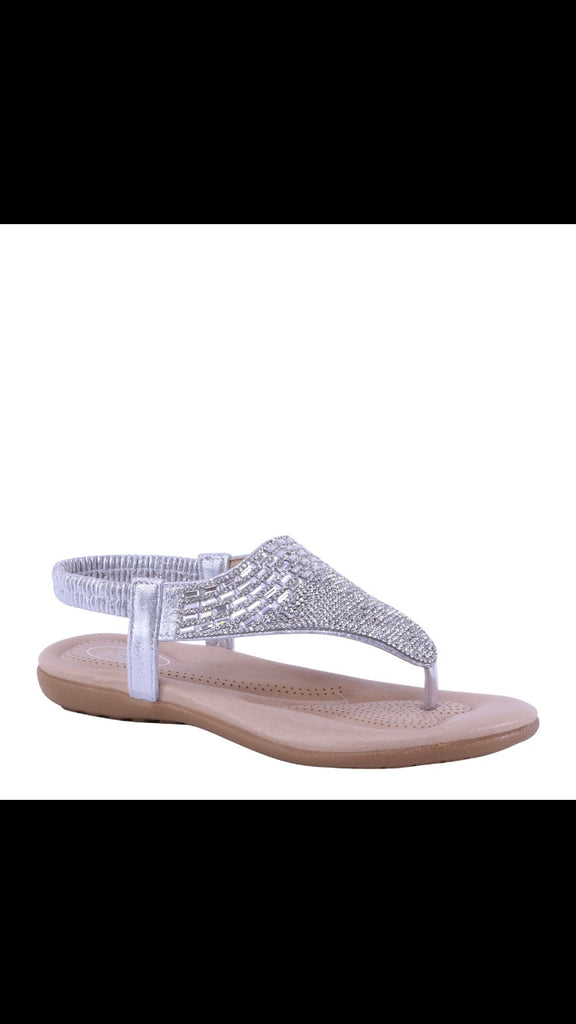 Silver thongs sandals