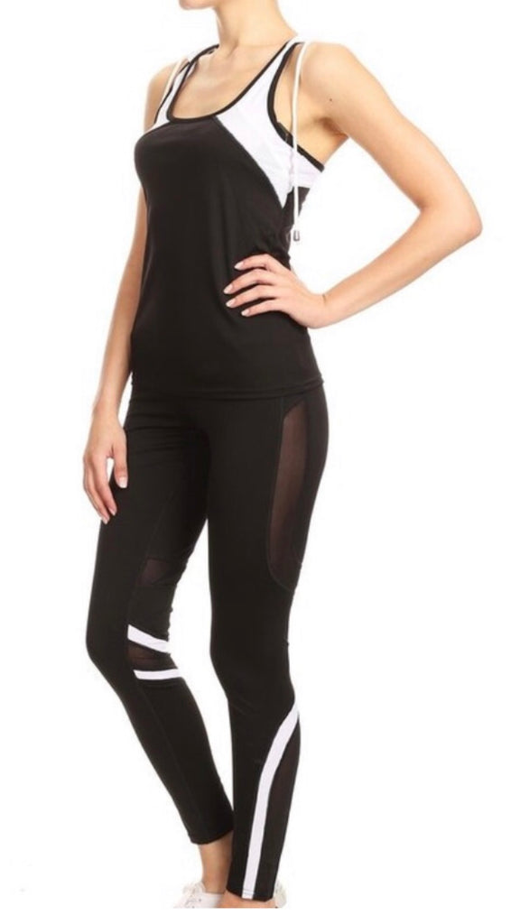 Black/Wh legging set