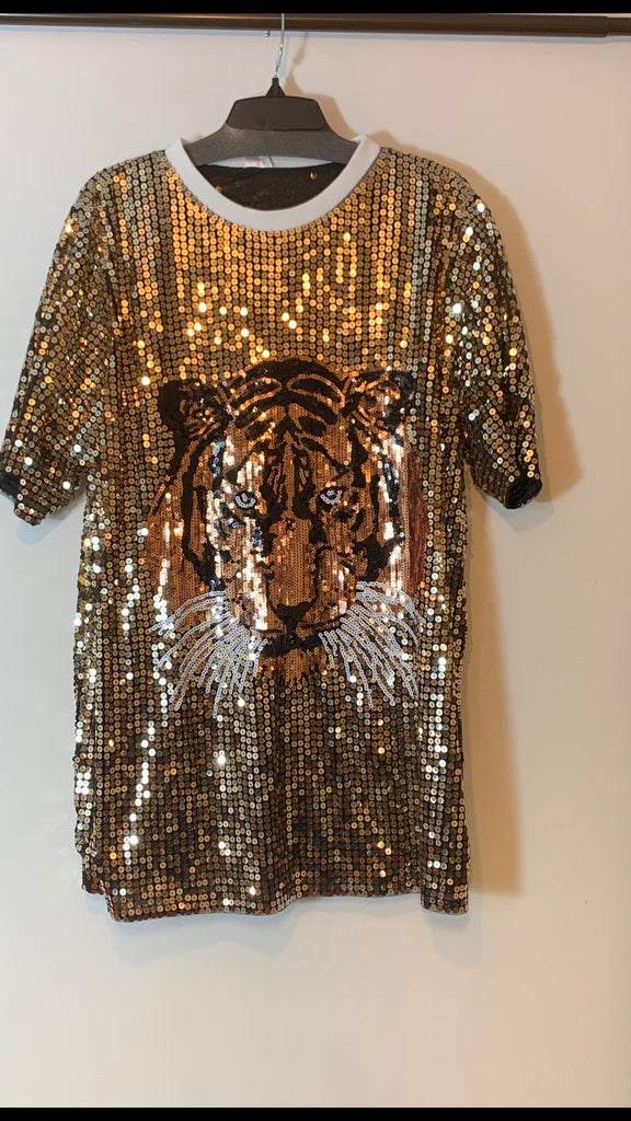 Black sequin tiger Top