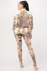 Leopard and Gold 2 pc leggings set