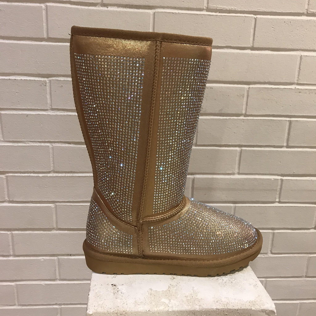 Gold stone boots
