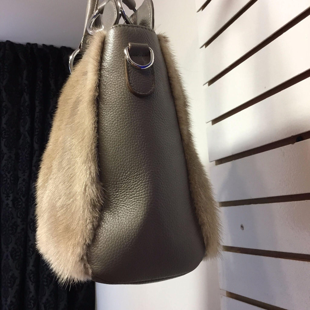 Double Sided Gray Mink & Leather Purse