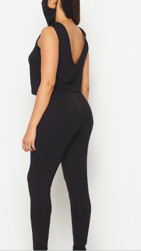 Black jumpsuit with mask