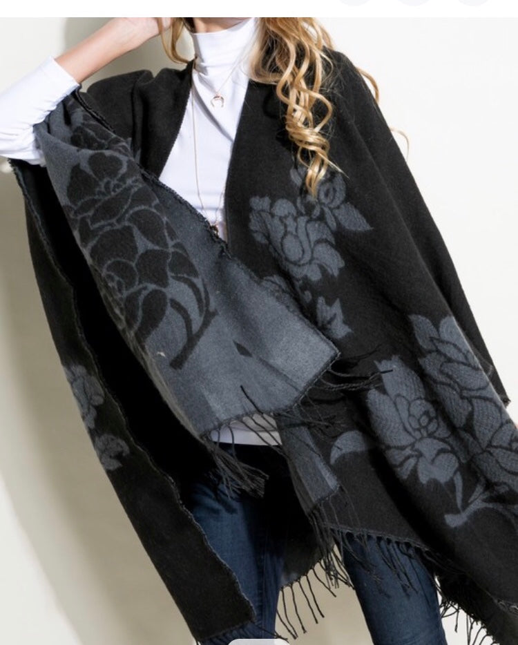 Black And Gray reversible Cape