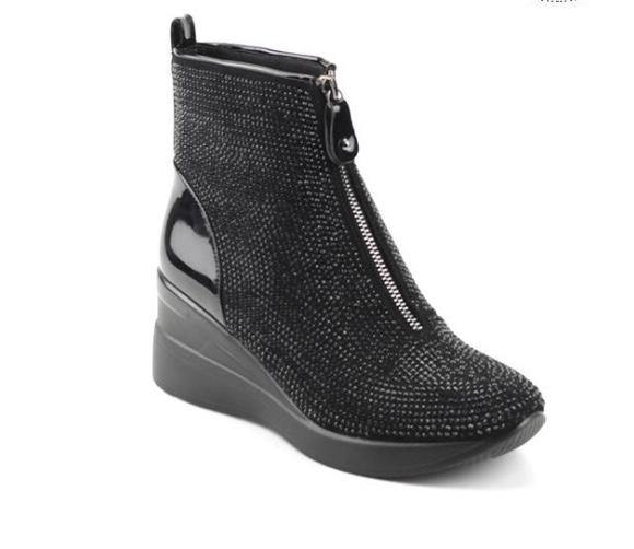 Black Bling Stone Wedge Bootie