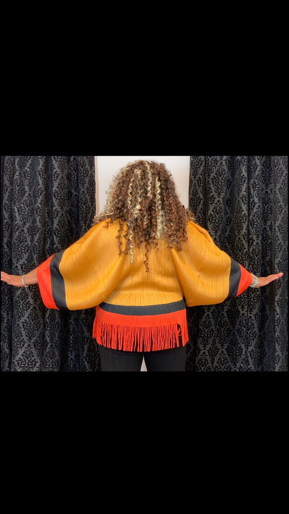Gold and orange pleated top