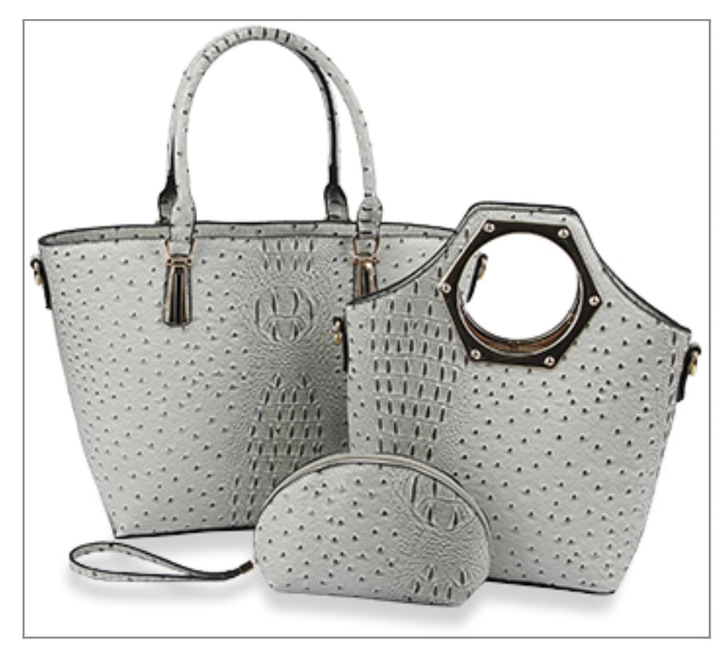 Gray 3pc Ostrich purse set