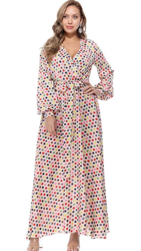 Polkadot multicolor maxi dress