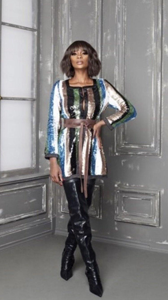Multicolor Striped Sequin Jacket