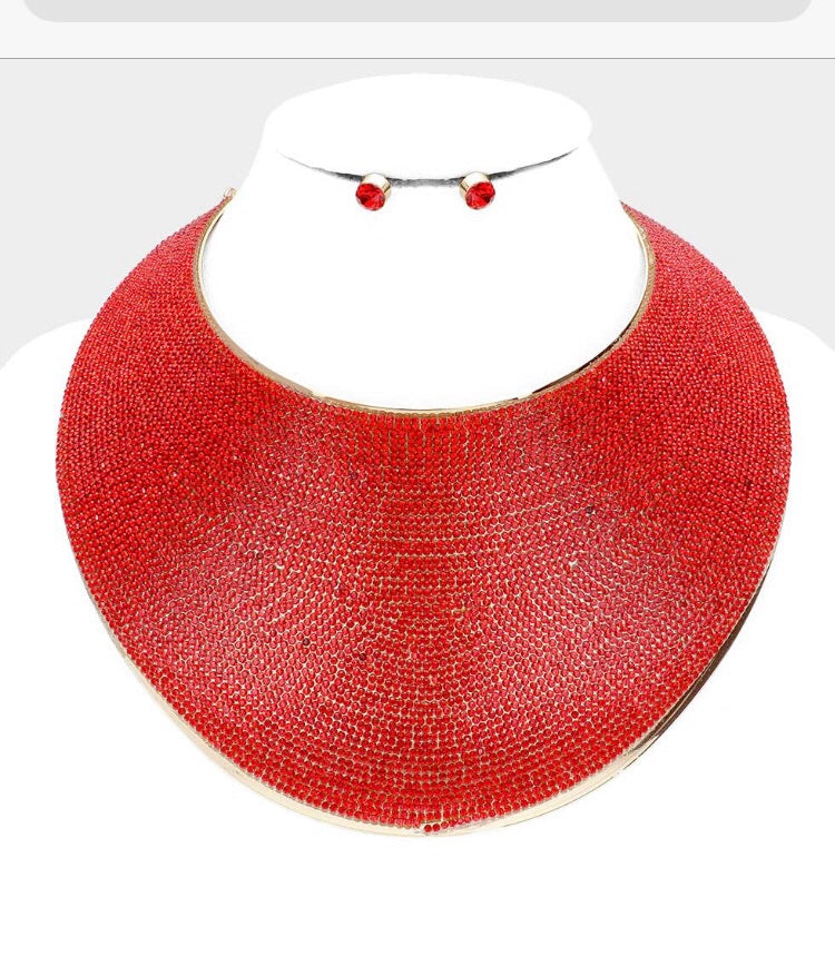 Red Collar Bling Necklace