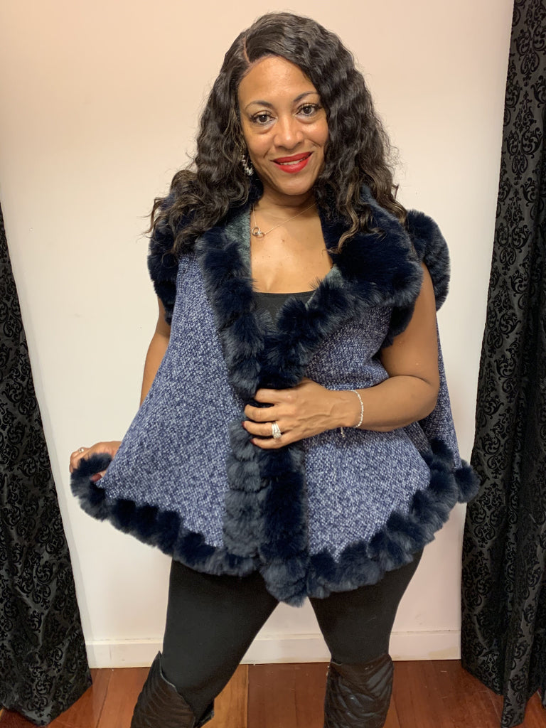 Faux fur swing vest