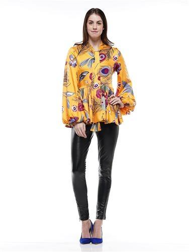 Long Sleeves Printed Flare Top