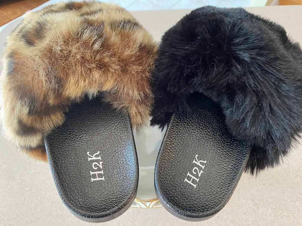 Faux Fur Black and Leopard sandal or house shoe
