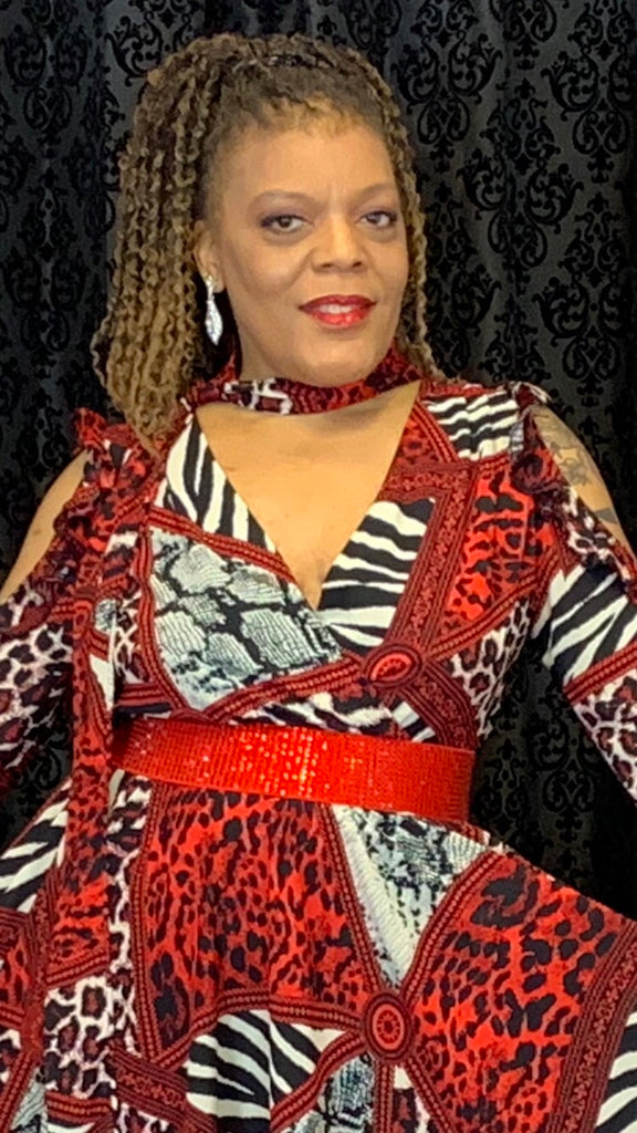 Red  animal print dress
