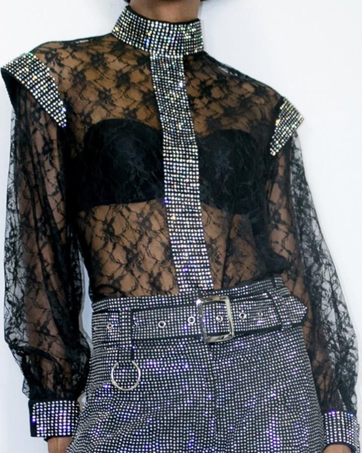 Lace Black rhinestone Top