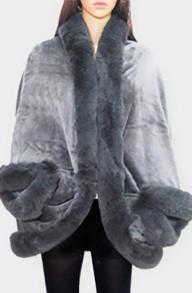 Gray faux fur cape