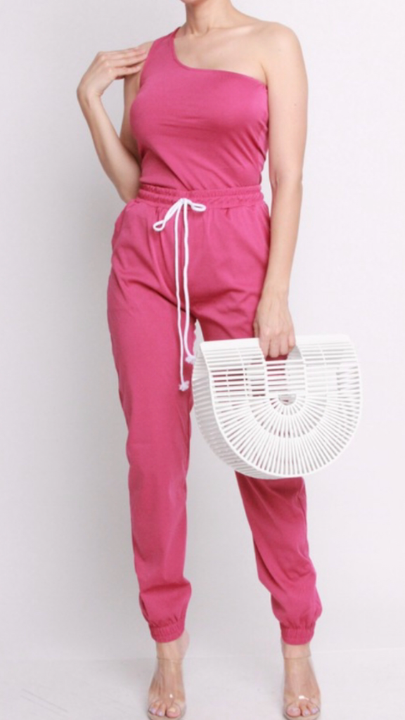 Pink one arm pant set