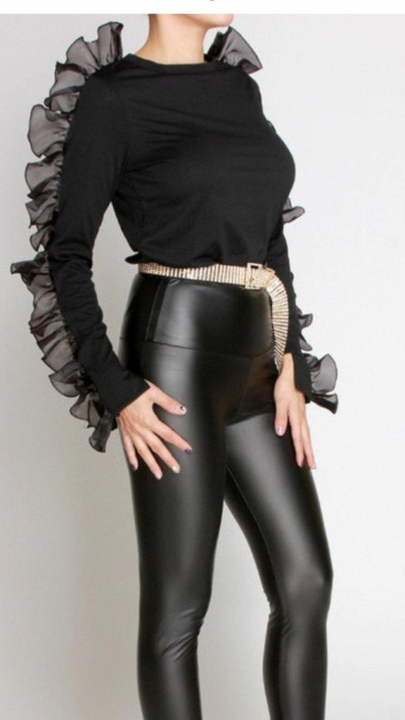 Black Top Ruffle Sleeve