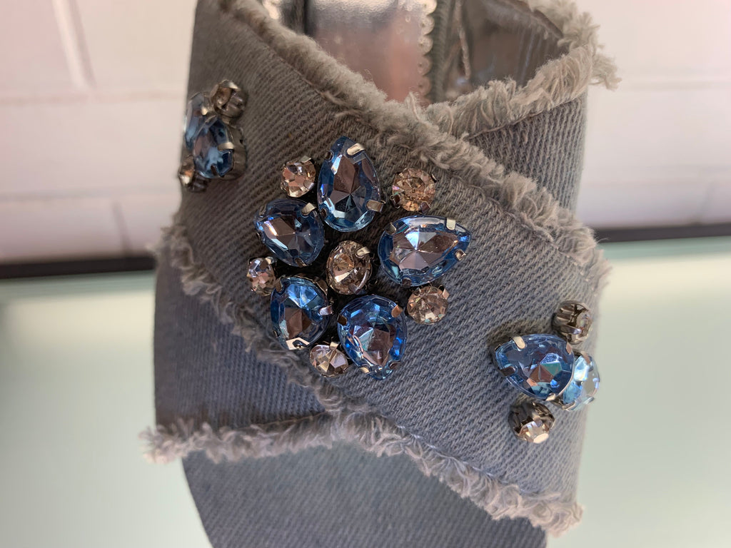 Denim Sandals with Bling Heels