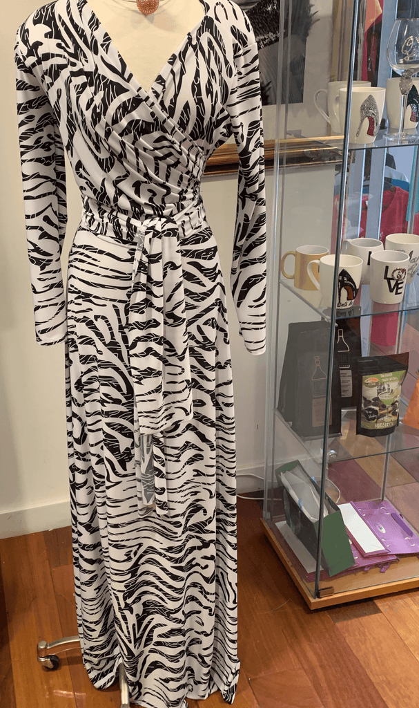 Black and white zebra print maxi.