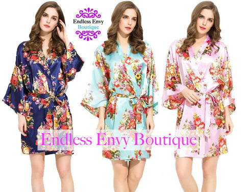 BRIDESMAID FLORAL SATIN ROBES
