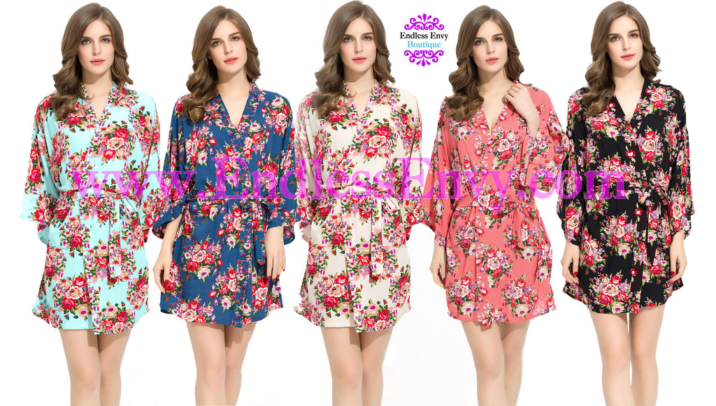 Floral Cotton Bridesmaid Robes at www.EndlessEnvy.com
