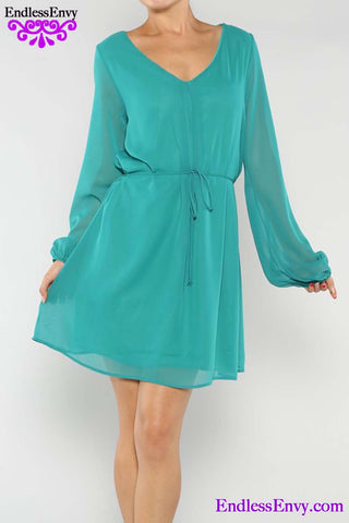 Jade Green V-Neck Dress at Endless Envy Boutique
