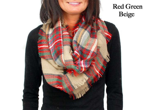 Infinity Plaid  Scarf Red Green Beige