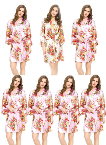 Floral Satin Bridesmaids Robe 6 Pink 1 White