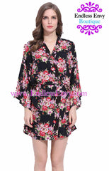 Endless Envy Black  Floral Robe Bridesmaids