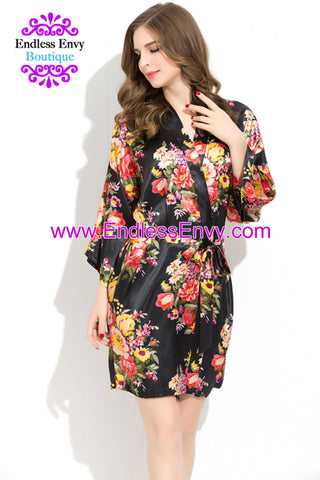 Endless Envy Floral Satin Bridesmaids Robe Black