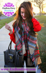The Plaid Blanket Scarf Shawl at Endless Envy Boutique