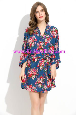 Endless Envy Floral Robe Bridesmaids Blue