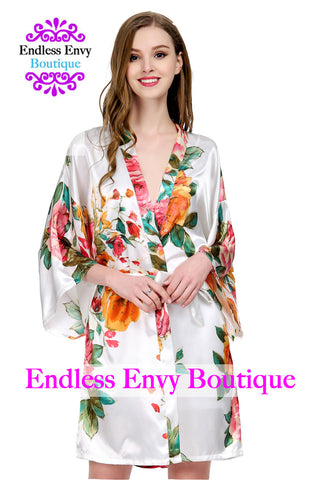 White Bridesmaid Floral Robe Satin Endless Envy