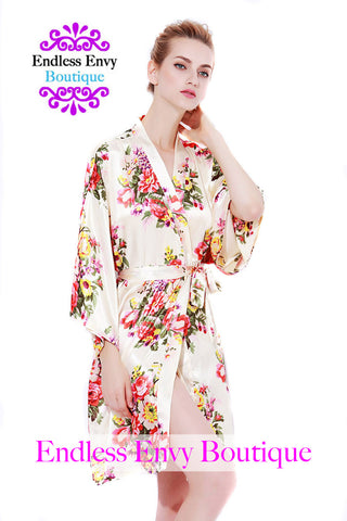 Endless Envy Floral Satin Bridesmaids Robe Champagne