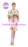 Champagne Floral Bridesmaid Robe Satin Endless Envy