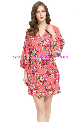Endless Envy Floral Robe Coral - Bridesmaids