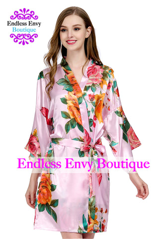 Satin Floral Watercolor Bridesmaid Robe Pink