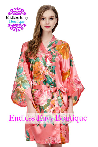Satin Floral Watercolor Bridesmaid Robe Coral