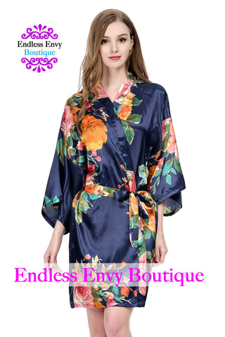 Satin Floral  Watercolor Bridesmaid Robe Navy